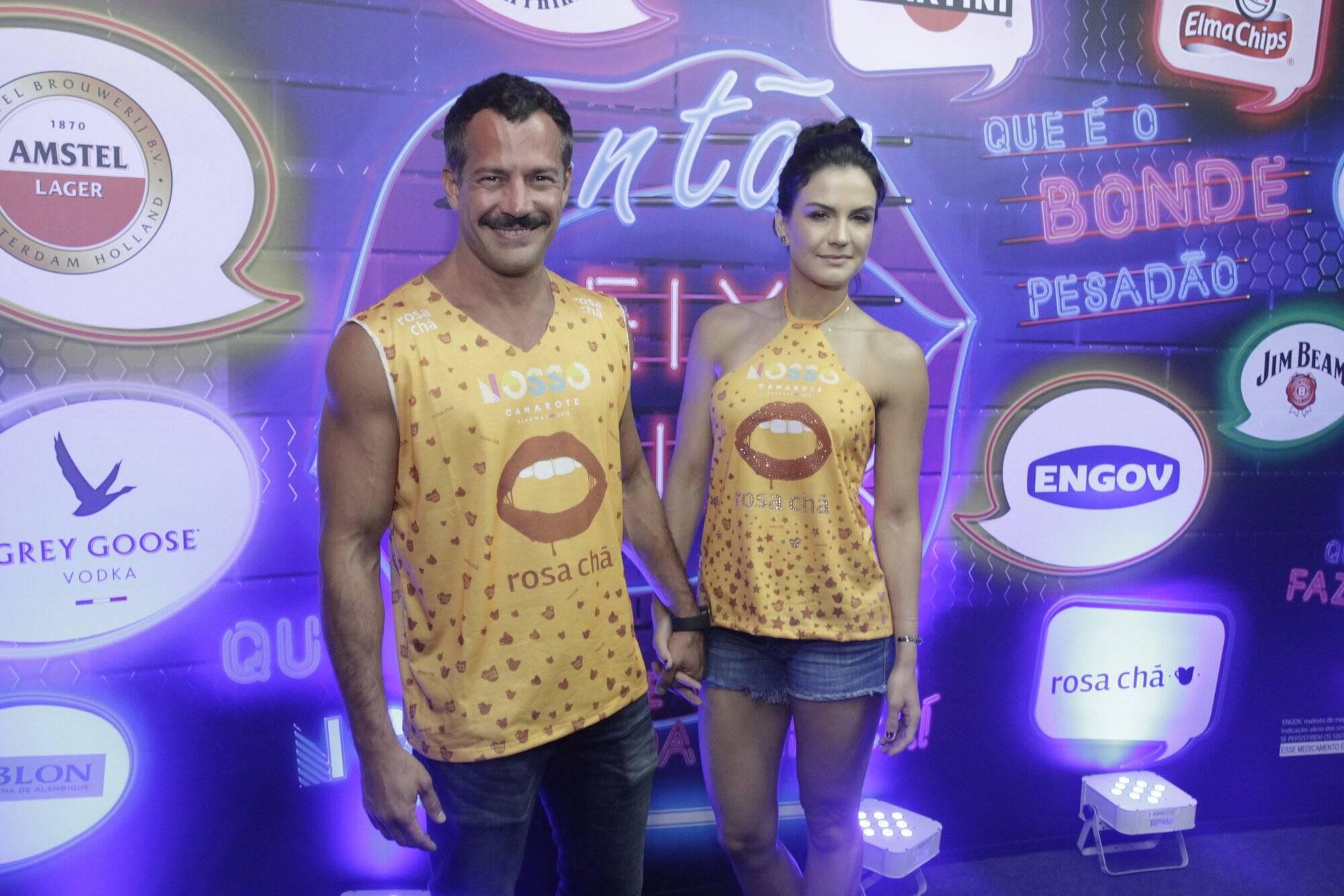 Malvino Salvador e Kyra Gracie no Camarote N1 na Marquês de Sapucaí na segunda-feira (12. Foto: Brazil News/CS Eventos Divulgacao