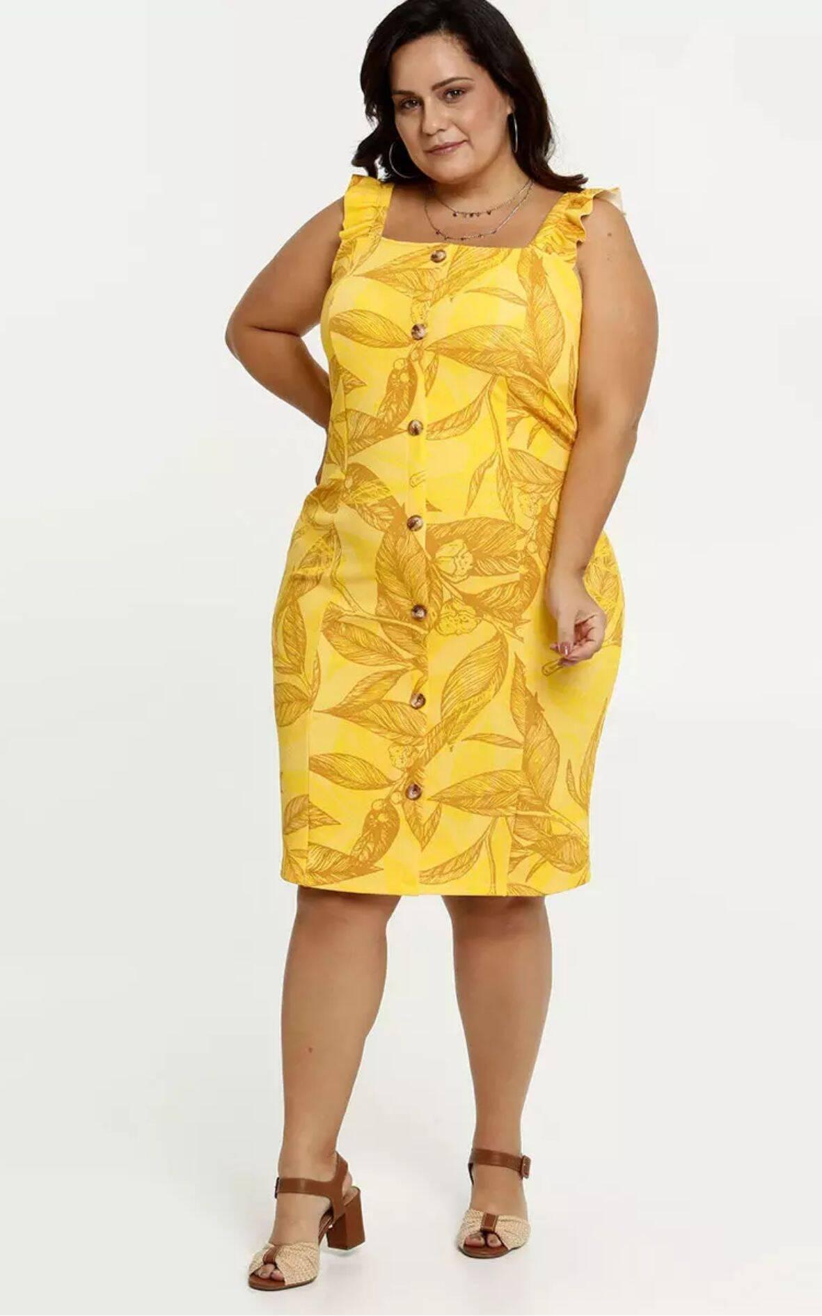 Vestido Feminino Estampa Tropical Alças Finas Plus Size | Marisa | R$ 99,95. Foto: Divulgação
