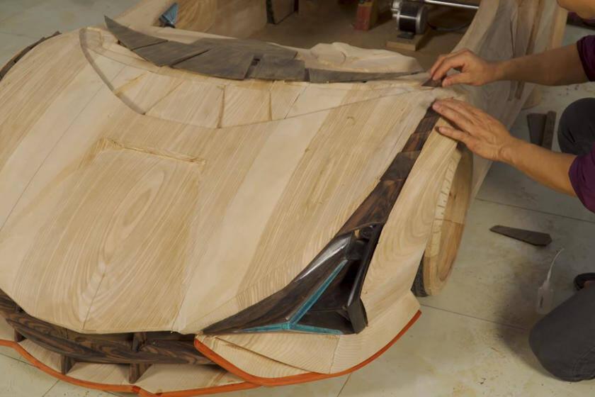 Réplica do Lamborghini Sian Roadster de madeira foi feita em 65 dias.. Foto: Divulgação