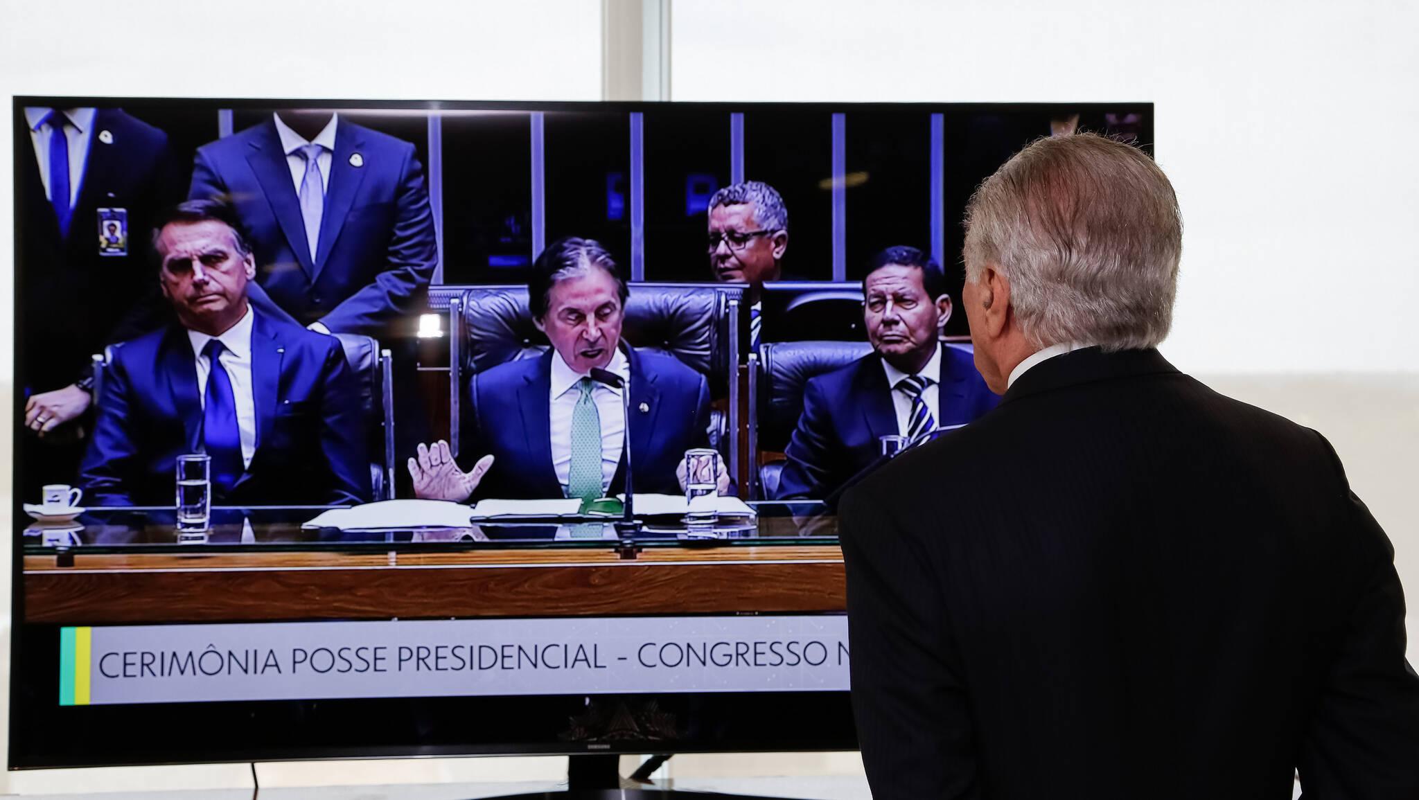 Michel Temer acompanhou cerimônia de posse de Bolsonaro no Congresso pela televisão. Foto: Rogério Melo/PR - 1.1.19