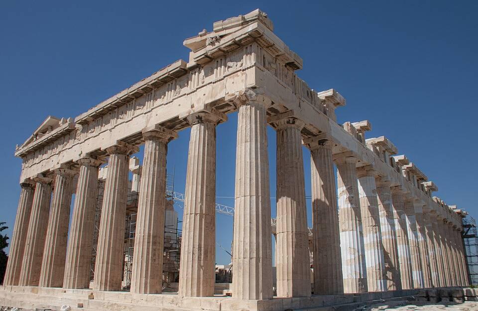 Partenon é famosos por suas colunas, sendo umas das estruturas mais reconhecíveis do mundo . Foto: Pixabay