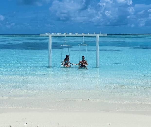 Jade Picon e João Guilherme nas Maldivas. Foto: Reprodução