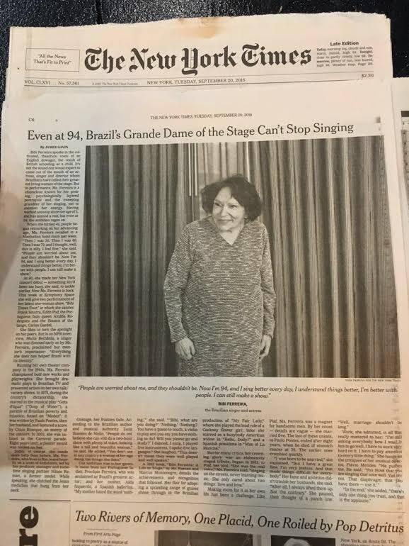 Em 2016 Bibi Ferreira foi destaque de página inteira no The New York Times. Foto: Divulgação