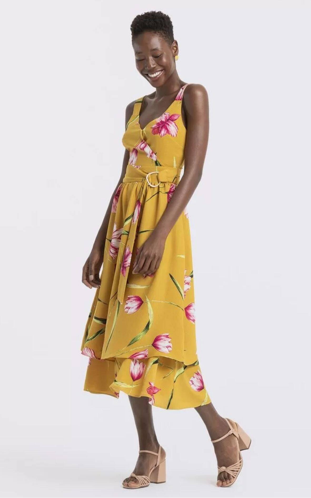 Vestido Floral Com Cinto | Renner | R$ 199,90. Foto: Divulgação