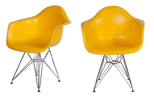 A poltrona amarela com estilo Eames traz vivacidade e até mesmo frescor ao ambiente quando combinado com tons mais escuros. Pode ser combinada com diferentes estilos de decoração; móvel está com 47% de desconto no site da Marabraz. Foto: Divulgação