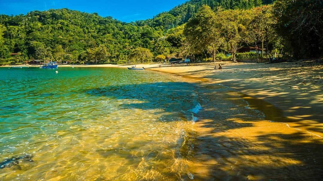 As águas da Praia do Flamengo se mesclam entre esverdeadas e azuis. Foto: Reprodução/Ubatuba Guide