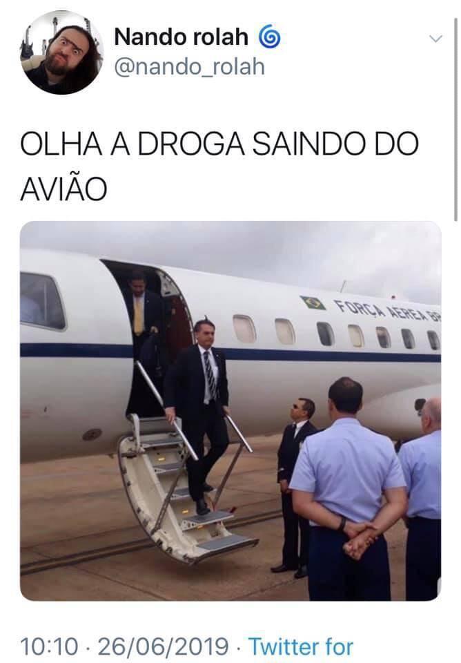 """Notícias dos """"39 quilos de cocaína em avião presidencial"""" viram memes: confira. Foto: Internet"""
