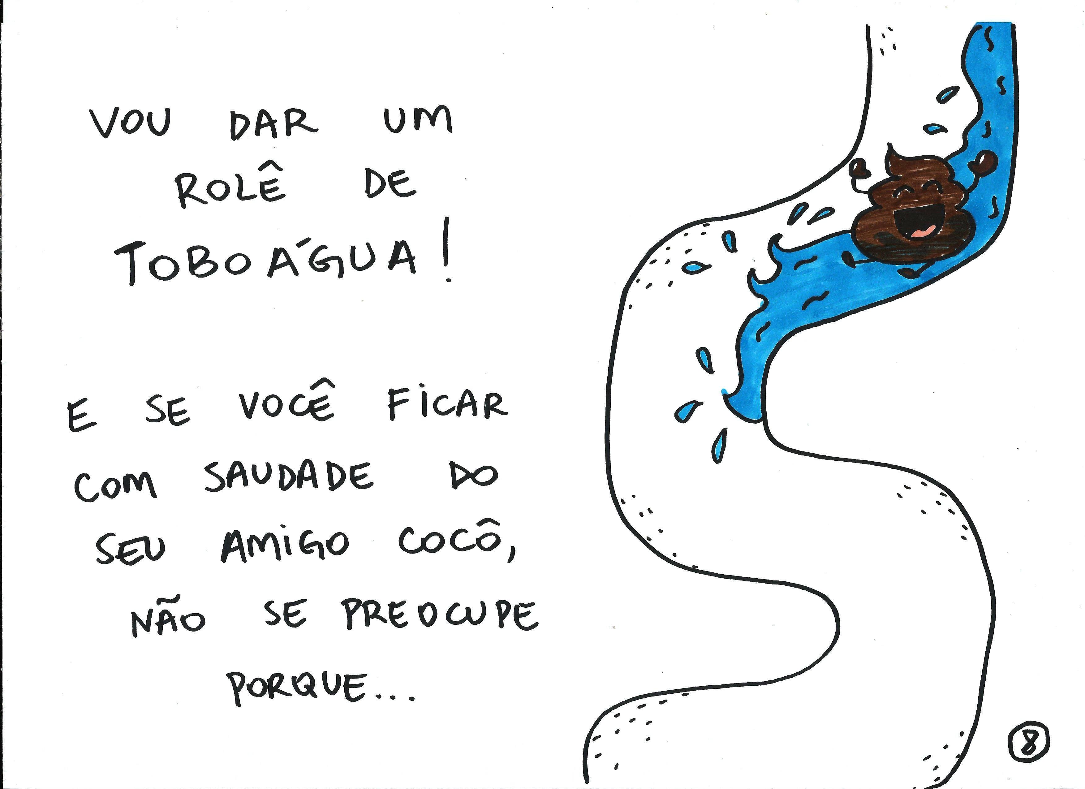Ilustrações foram feitas pela cartunista Mauren Veras para ajudar o filho mais velho, Elvis, a conseguir fazer o cocô no vaso. Foto: Mauren Veras