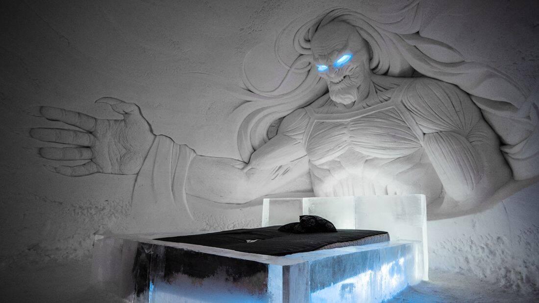 O quarto do vilão White Walker é um dos grandes destaques do hotel. Foto: Divulgação/Lapland Hotels