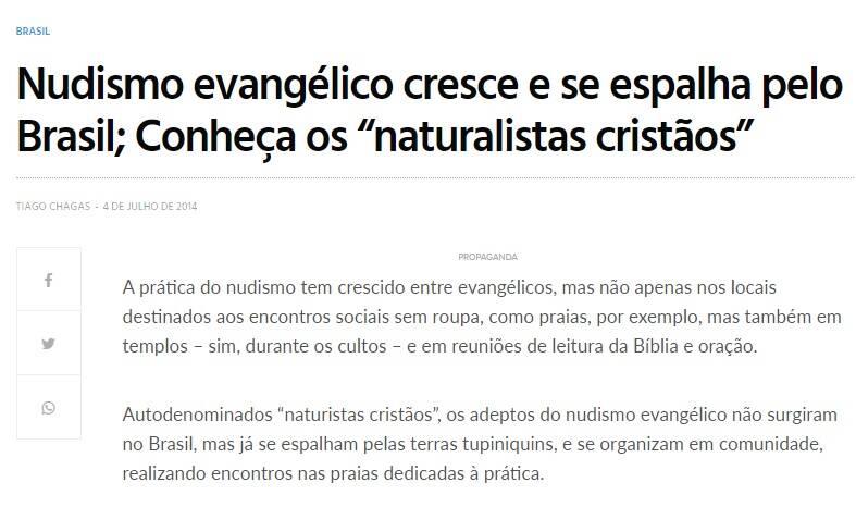 Site de notícias gospel foi o primeiro a repercutir a entrevista de Estêvão. Foto: Reprodução
