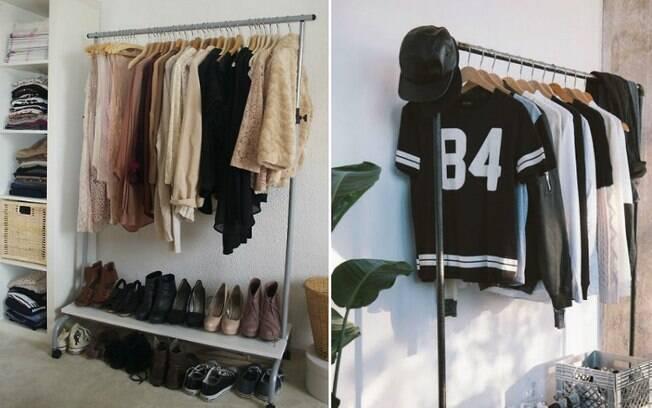 Substituir guarda-roupas convencionais por araras é uma forma criativa e estilosa de organizar as peças e exibi-las . Foto: Reprodução/Pinterest