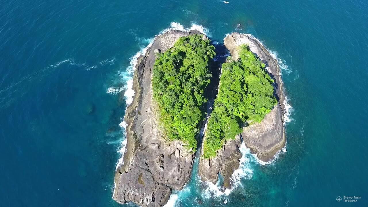 De cima, a Ilha da Selinha tem formato de coração ou com duas conchas. Foto: Reprodução/Bruno Amir