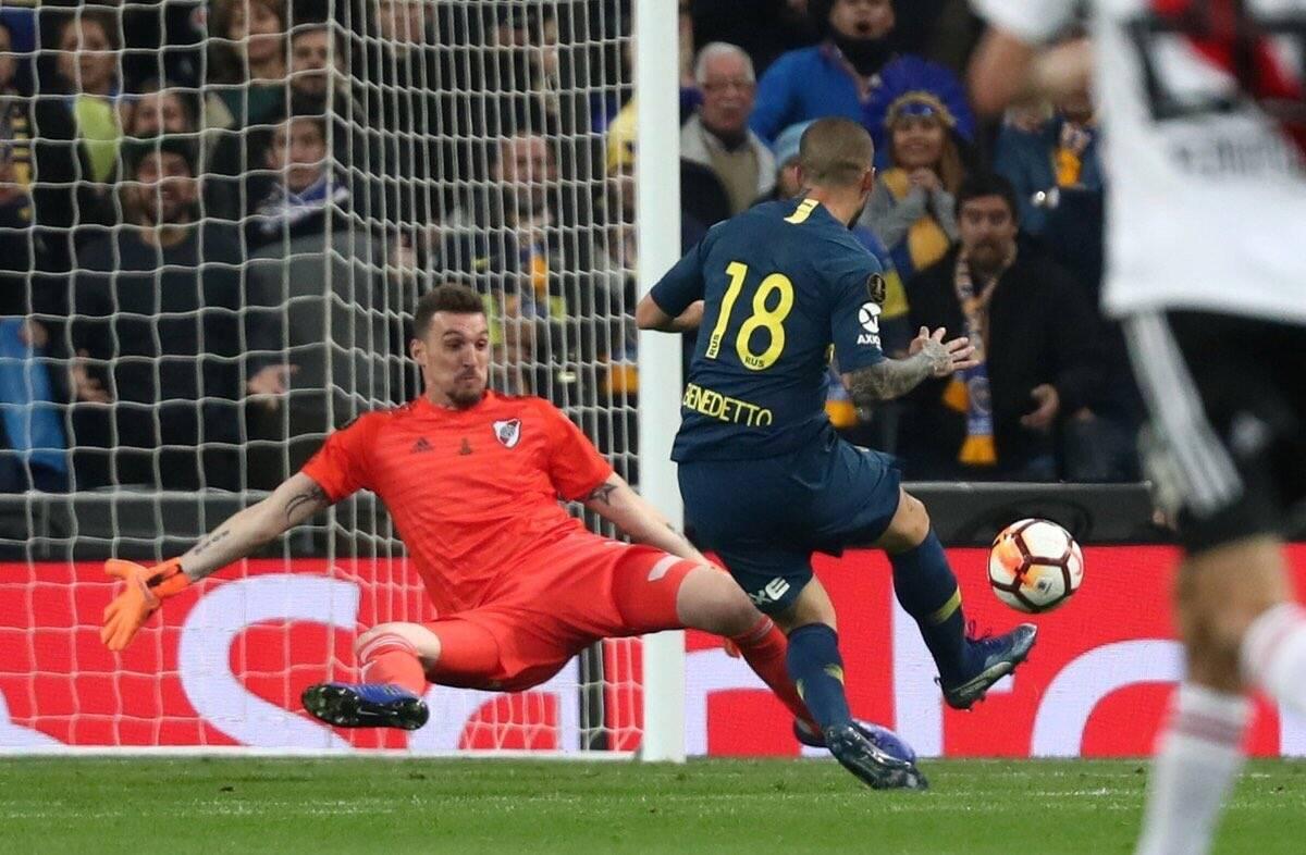 Benedetto faz o primeiro gol da final da Libertadores. Foto: Twitter/Reprodução