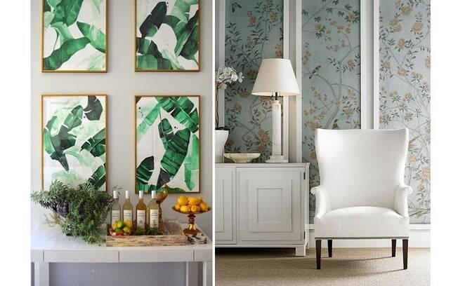 O papel de parede não precisa necessariamente ser aplicado em toda a parede, basta criar quadros e paineis com ele. Foto: Reprodução/Pinterest