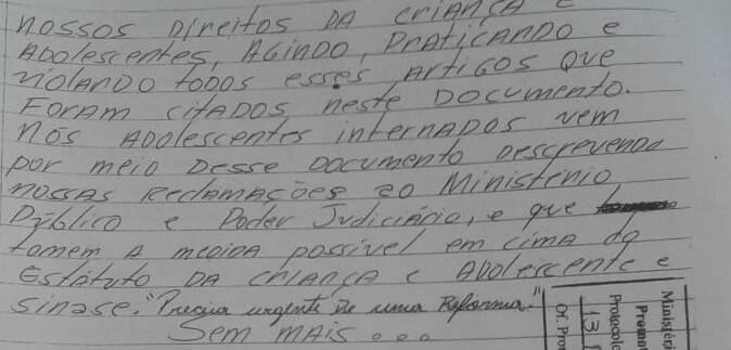 Internos da Fundação Casa de Jacareí fizeram abaixo-assinado para reivindicar direitos. Foto: Arquivo pessoal
