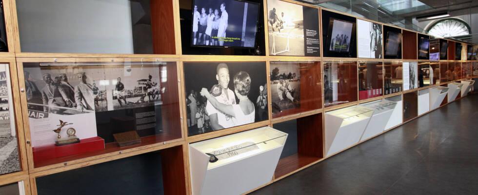Linha do tempo exibida no Museu Pelé. Foto: Rosangela Menezes