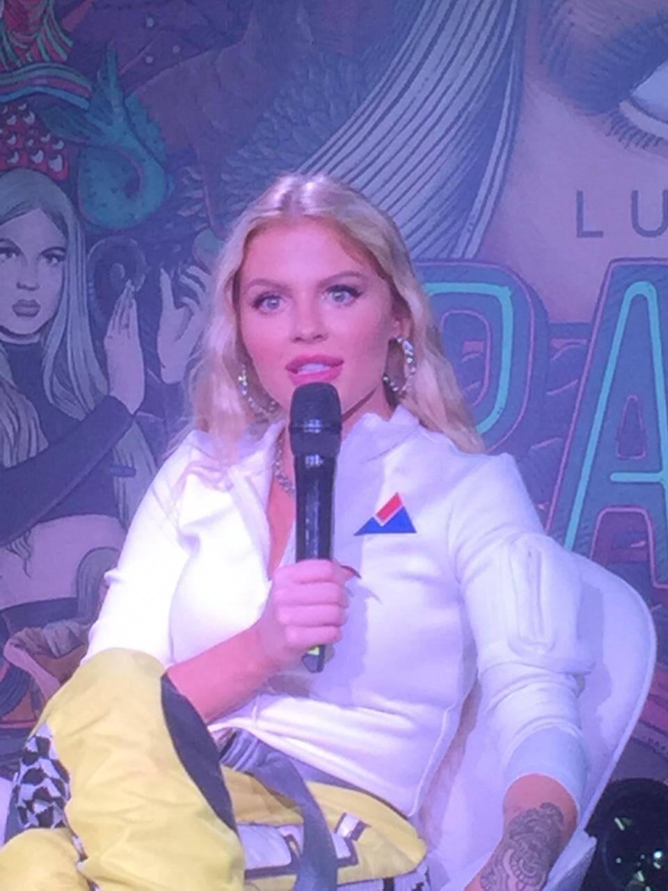 Luísa Sonza em econtro com jornalistas. Foto: Reginaldo Junior / iG