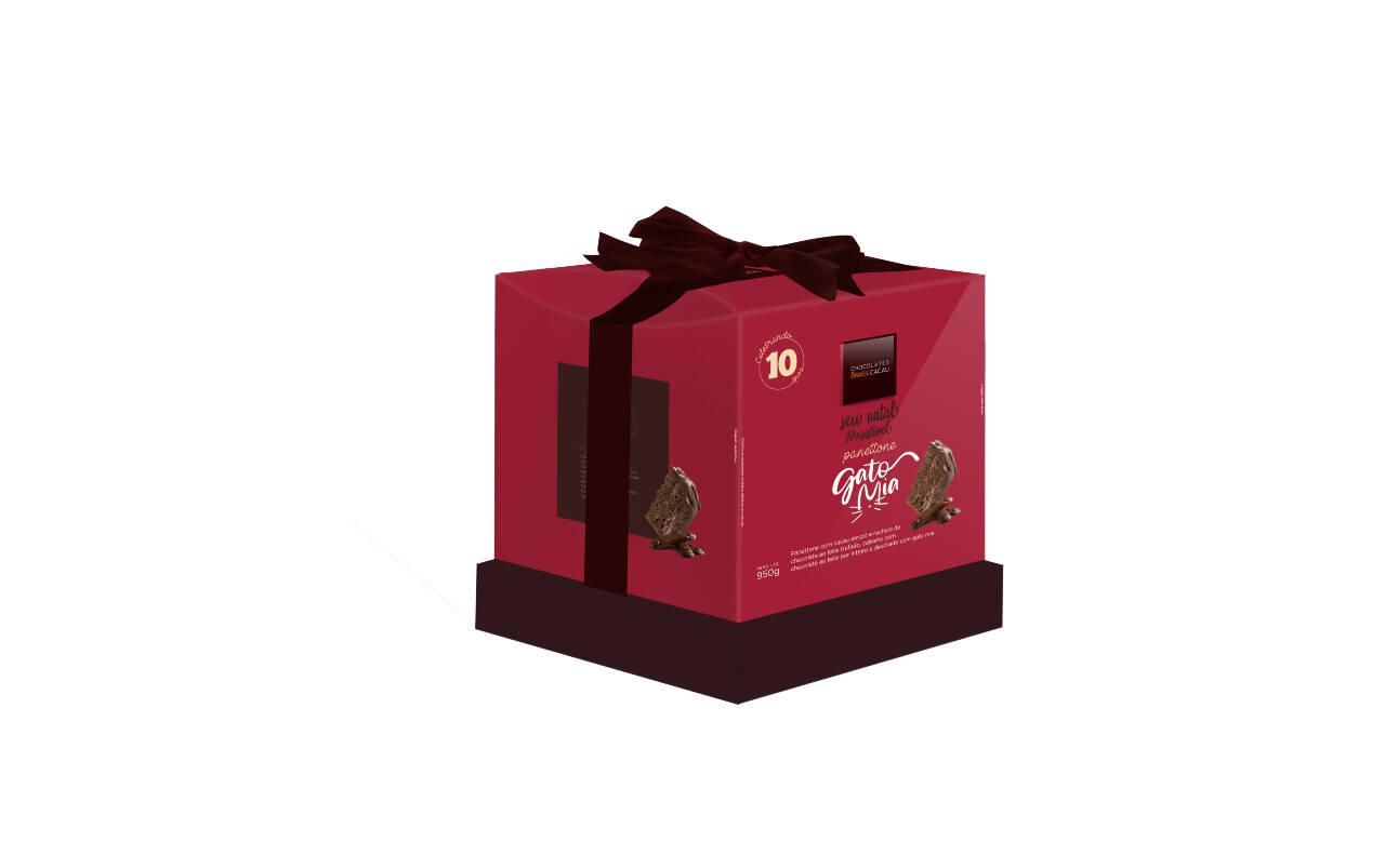 Panettone Gato Mia lançamento da Chocolates Brasil Cacau – 950g (R$ 69,90). Foto: Divulgação