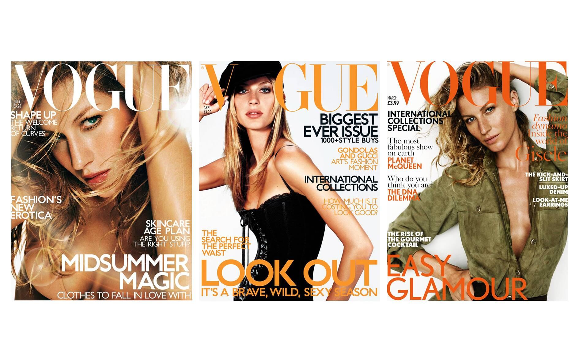 Capas de revistas estreladas por Gisele Bündchen. Foto: Vogue/Divulgação
