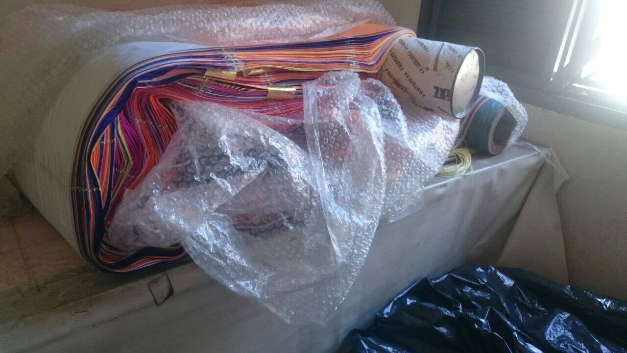 No residência em Campinas foram encontrados materiais para a construção de 03 balões. Foto: Divulgação/Polícia Ambiental