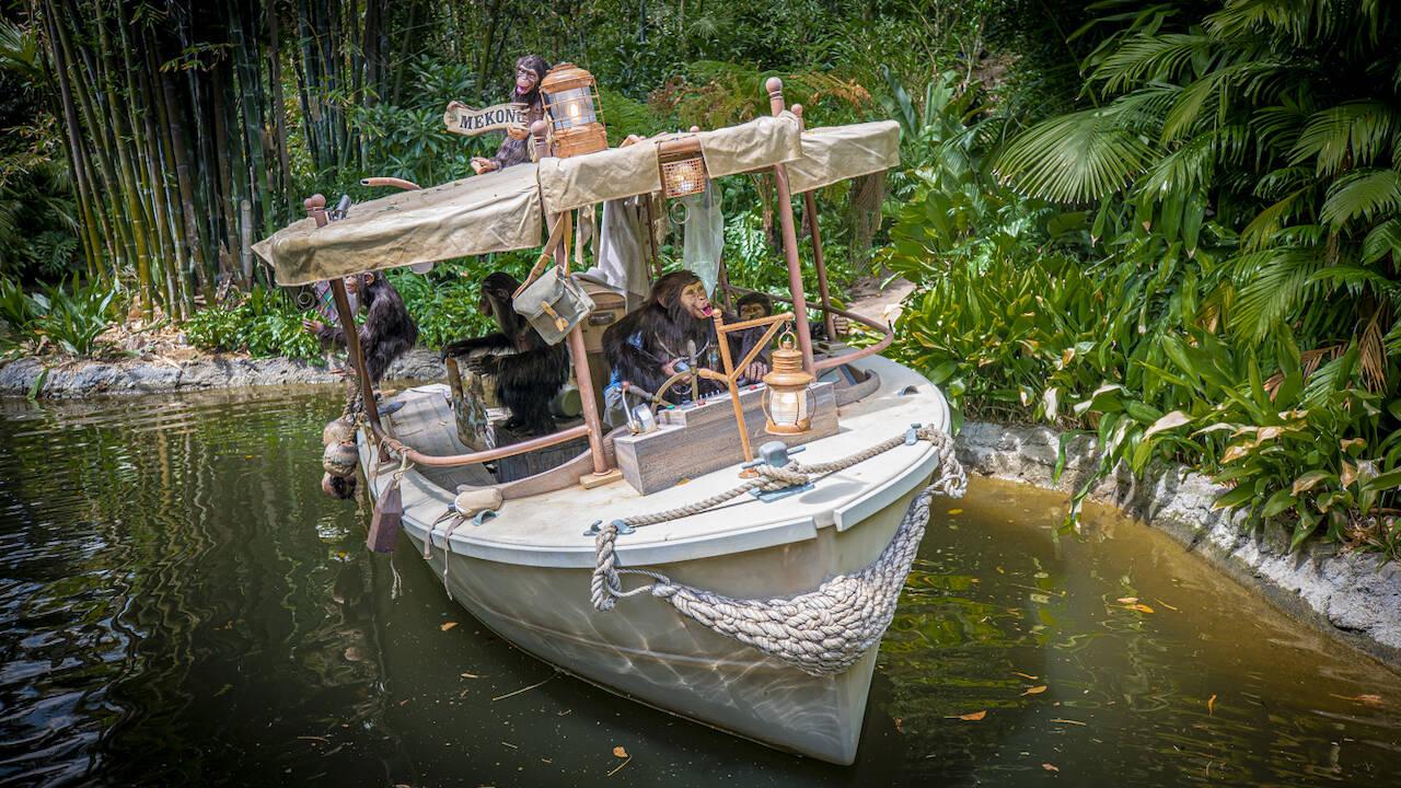 Jungle Cruise consiste em um passeio de barco, simulando rios da América do Sul, África e Ásia. Foto: Reprodução