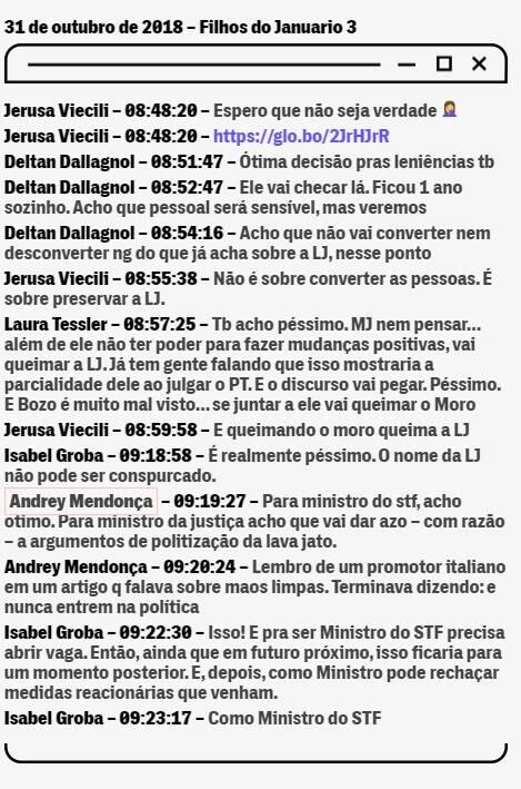 Diálogos divulgados pelo The Intercept na madrugada de sábado (29). Foto: Divulgação/The Intercept