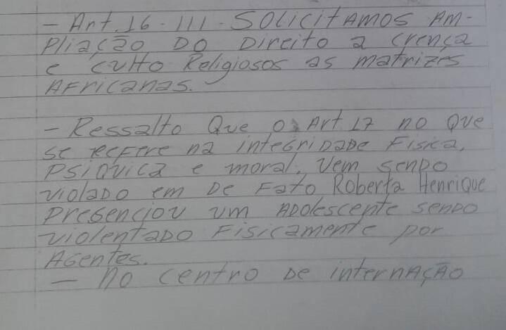Adolescentes da Fundação Casa de Jacareí fizeram abaixo-assinado para reivindicar direitos. Foto: Reprodução/Arquivo pessoal