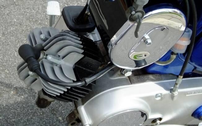 Motor de 49 cm3 de cilindro inclinado, com bom torque em baixas rotações. Foto: Arquivo pessoal