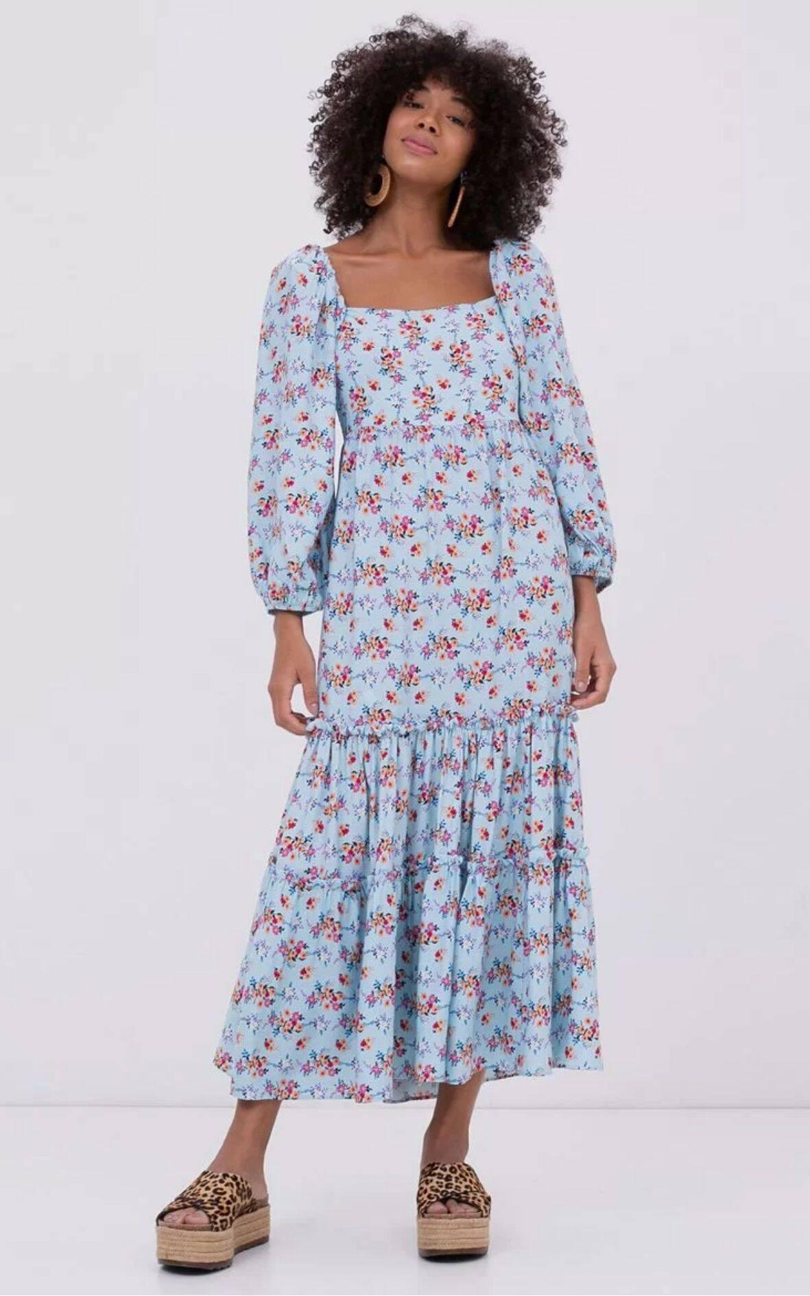 Vestido Estampado Com Mangas Bufantes | Renner | R$ 179,90. Foto: Divulgação