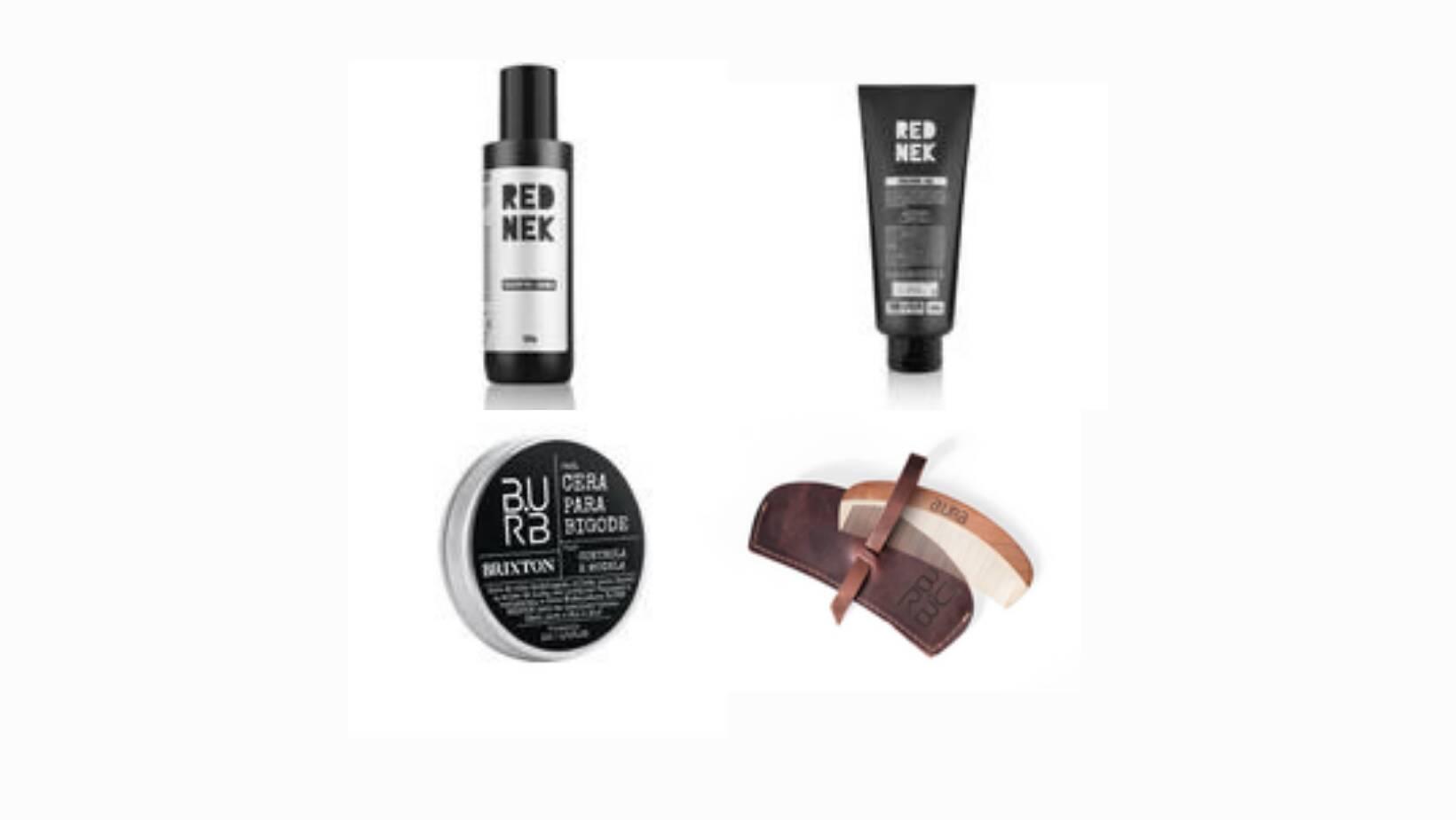 Shampoo para barba Rednek, R$ 30. Gel para barbear Rednek, R$ 40. Cera para bigode Brixton, R$ 30. Pente de madeira Astoria, R$ 45.. Foto: Divulgação