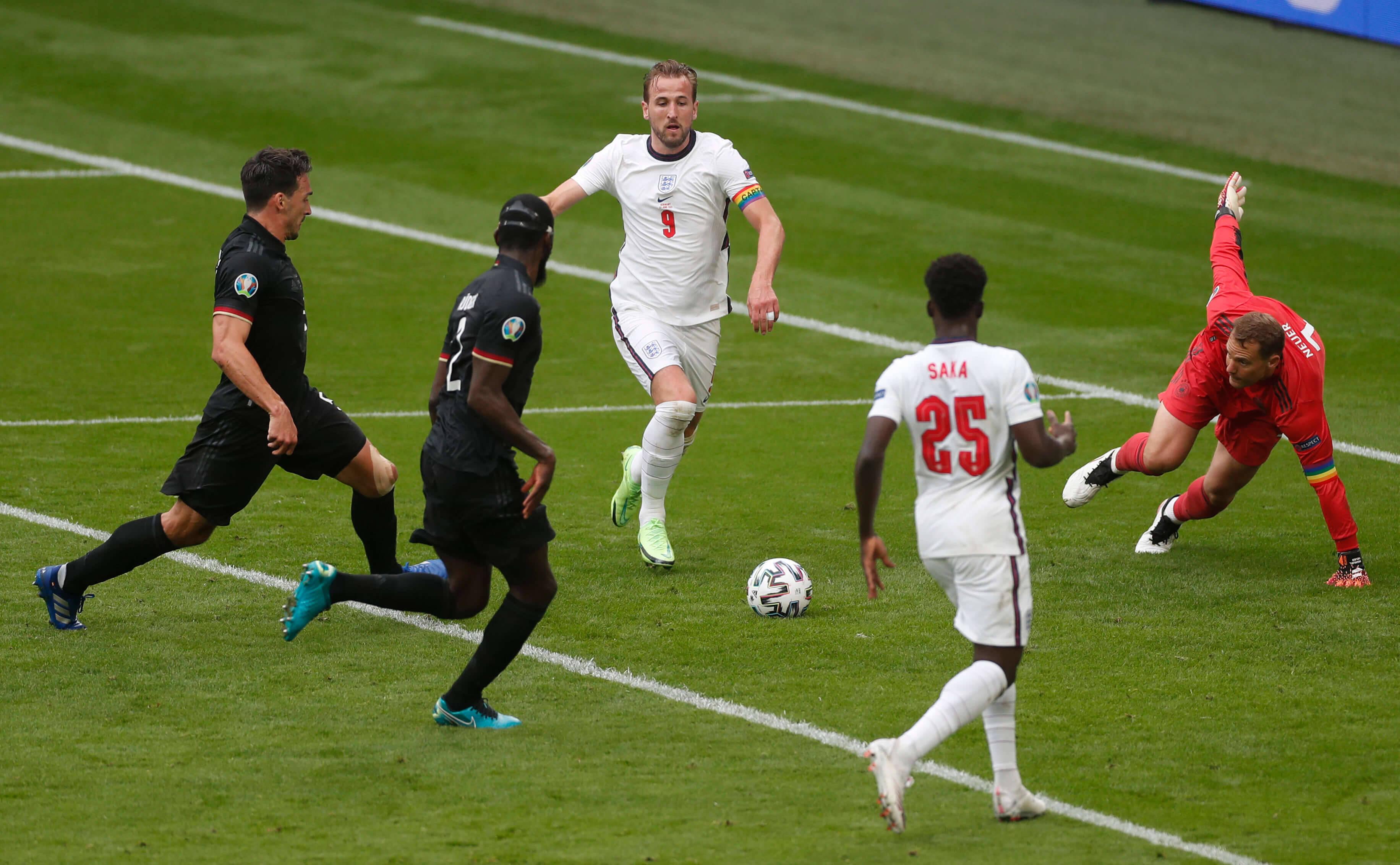 Inglaterra x Alemanha. Foto: Reprodução / Twitter Eurocopa
