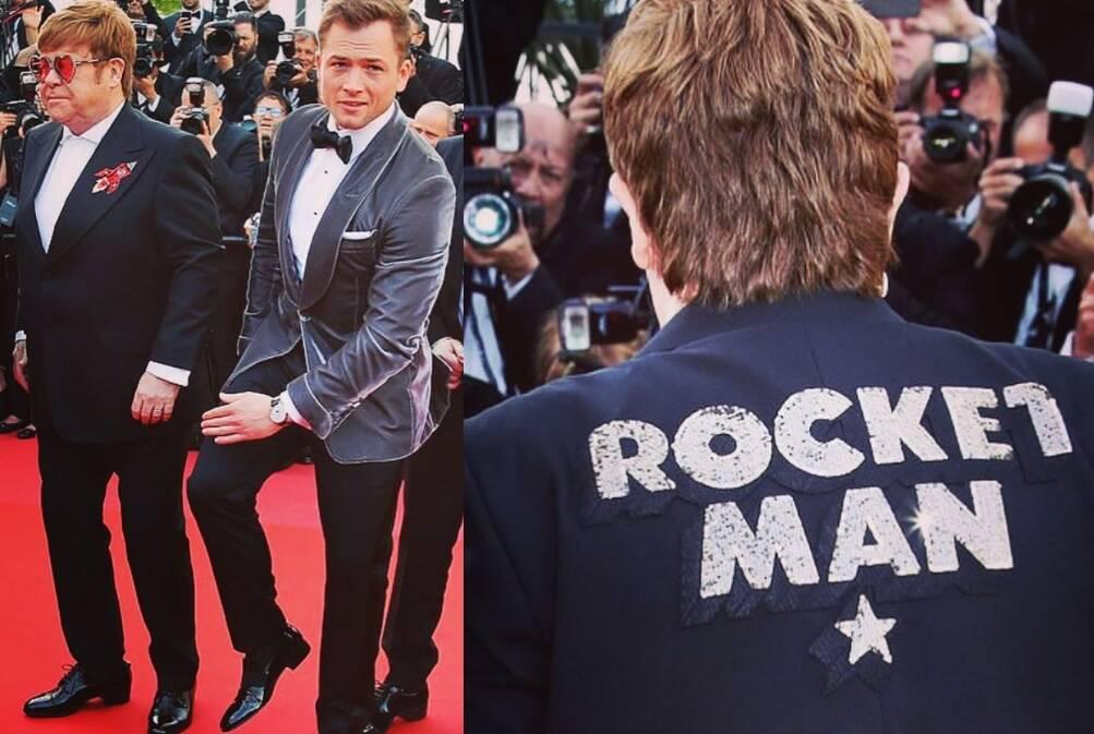 """Na quinta-feira (16), Elton John chamou a atenção no Festival de Cannes e subiu ao palco junto ao ator que o interpreta em """"Rocketman"""", Taton Egerton. Foto: Reprodução/Instagram"""
