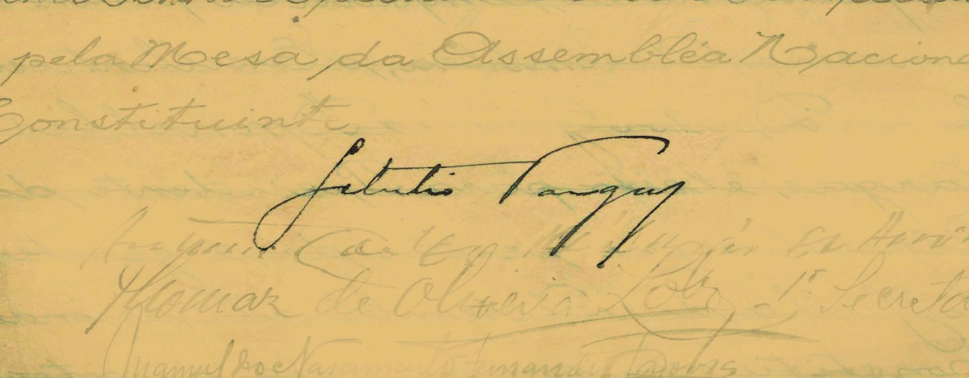 Getúlio Vargas tomou o poder em 1930, mas só assinou o Termo em 1934, ao ser eleito presidente pelo Parlamento. Foto: Reprodução / Senado Federal