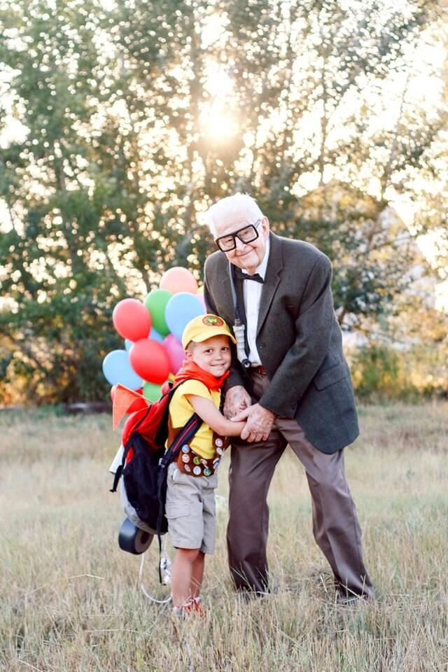 Elijah, de 5 anos, escolheu o filme Up como tema das fotos de aniversário. Foto: Reprodução/Facebook