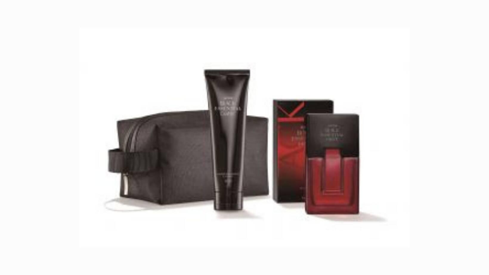 Kit Avon Black Essencial. Contém uma fragrância lançamento Black Essential Hot, o Black Essential Dark shampoo cabelo e corpo e um necessaire Black Essential. Acompanha caixa de presente. R$ 85,90.. Foto: Divulgação