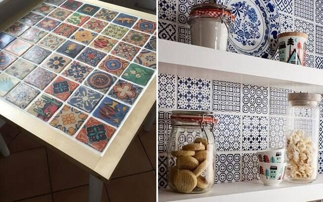 Azulejos podem te ajudar a renovar uma mesa da qual você já não gosta e há até adesivos que imitam o material . Foto: Reprodução/Pinterest