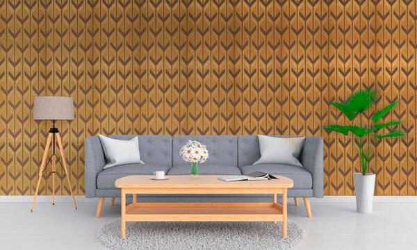 O papel de parede Michabo é caracterizado pelo design retrô e traz a sensação de ambiente mais largo. Foto: Papel de Parede dos Anos 70