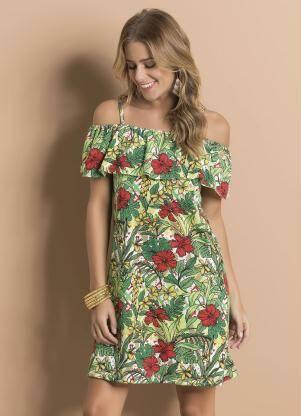 Vestido Ciganinha Floral com Alças e Babado por R$ 24,99 na promoção. Foto: Divulgação