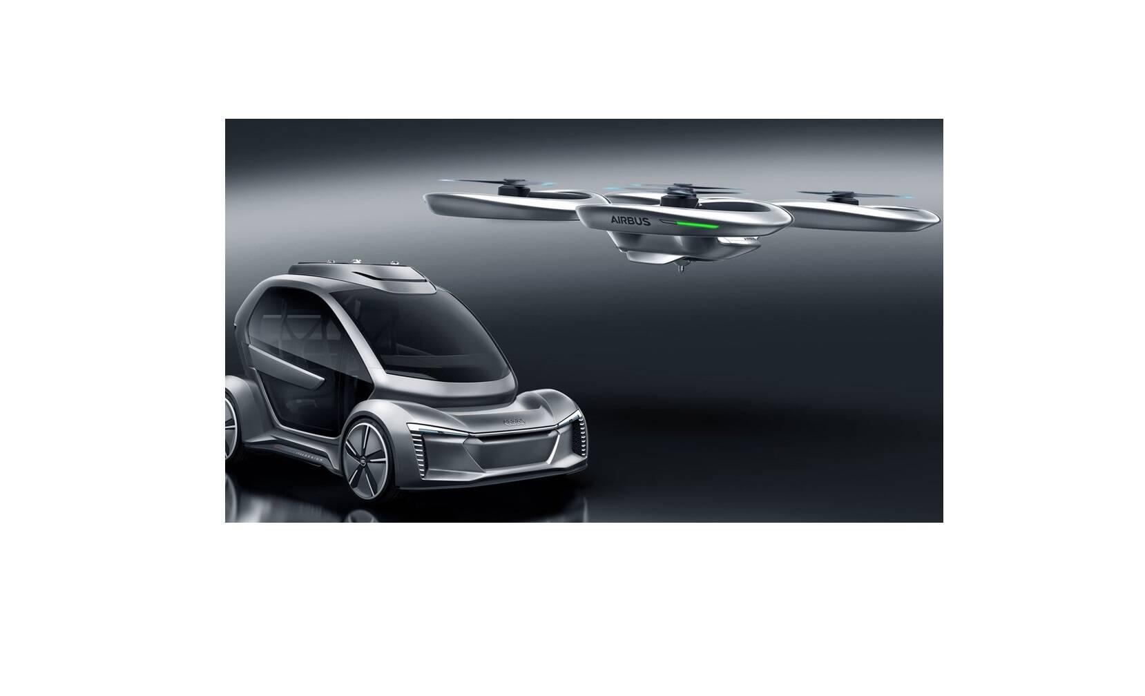 Eis o futuro: O carro voador, com tecnologia de direção autônoma, desenvolvido pela Italdesign, Audi e Airbus. Foto: Divulgação