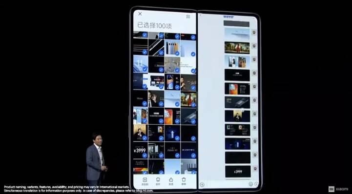 Mi Mix Foldable pode ser usado em duas telas. Foto: Reprodução/Youtube/Xiaomi