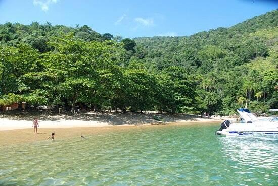 O mar da Ilha Anchieta é pouco movimentado e cercado de verde. Foto: Reprodução/TripAdvisor