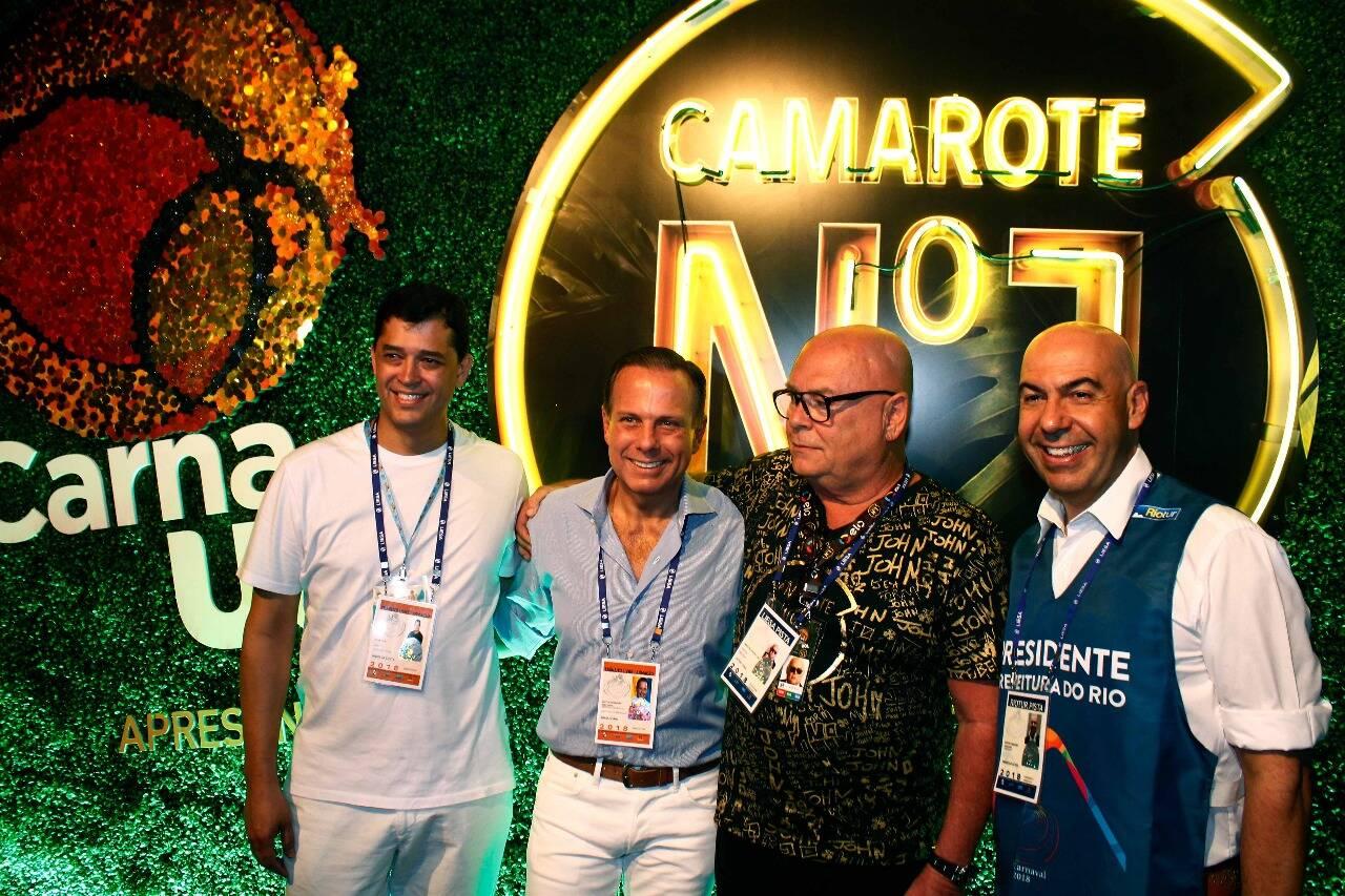 Indio da Costa, Doria, Victor Oliva e Marcelo Alves no Camarote N1 na segunda-feira (12) Rio de Janeiro. Foto: Felix Milesi-AgFPontes/Divulgação