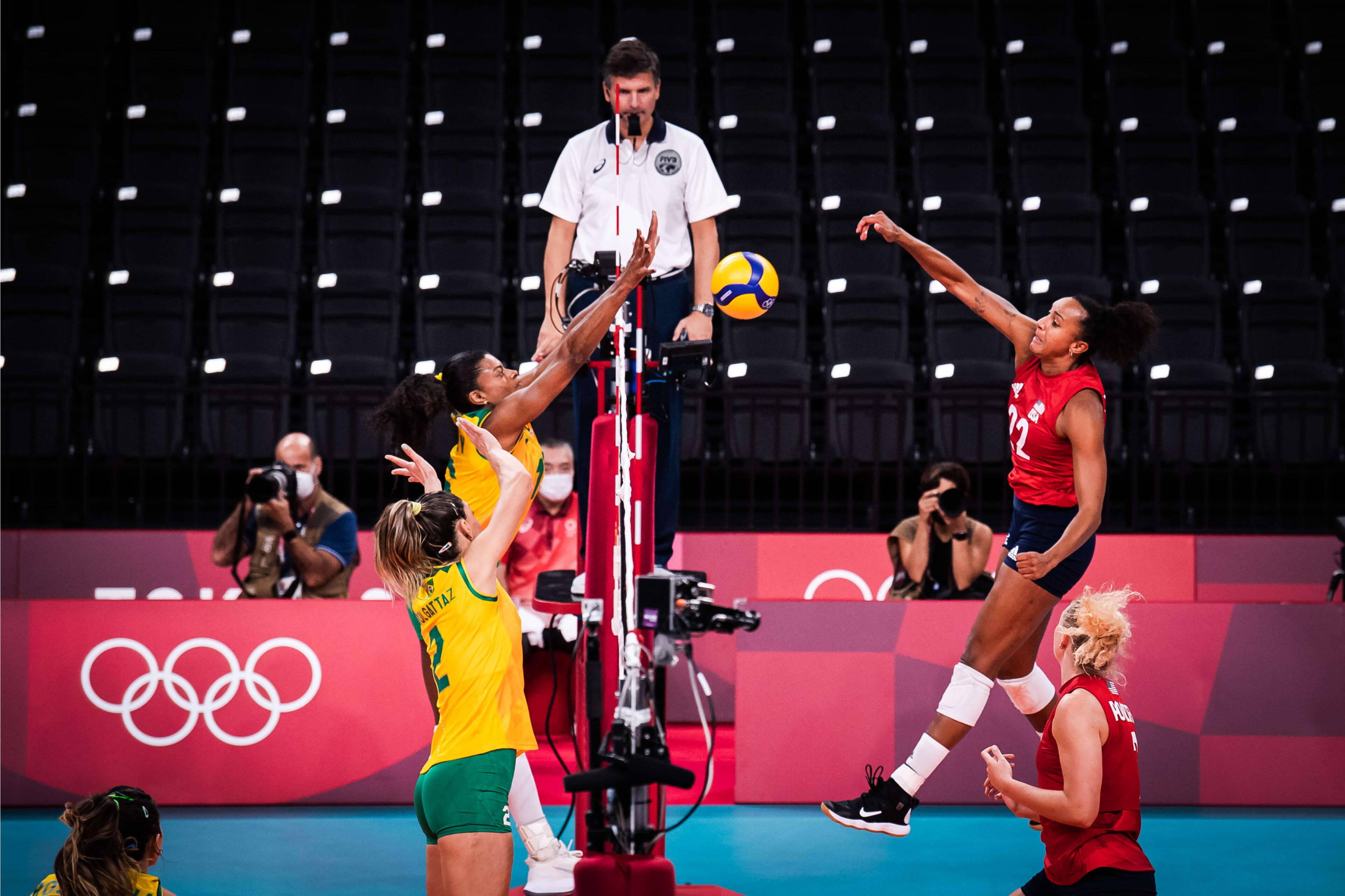 Brasil x EUA - vôlei feminino - Olimpíadas Tóquio. Foto: FIVB / Divulgação / Time Brasil
