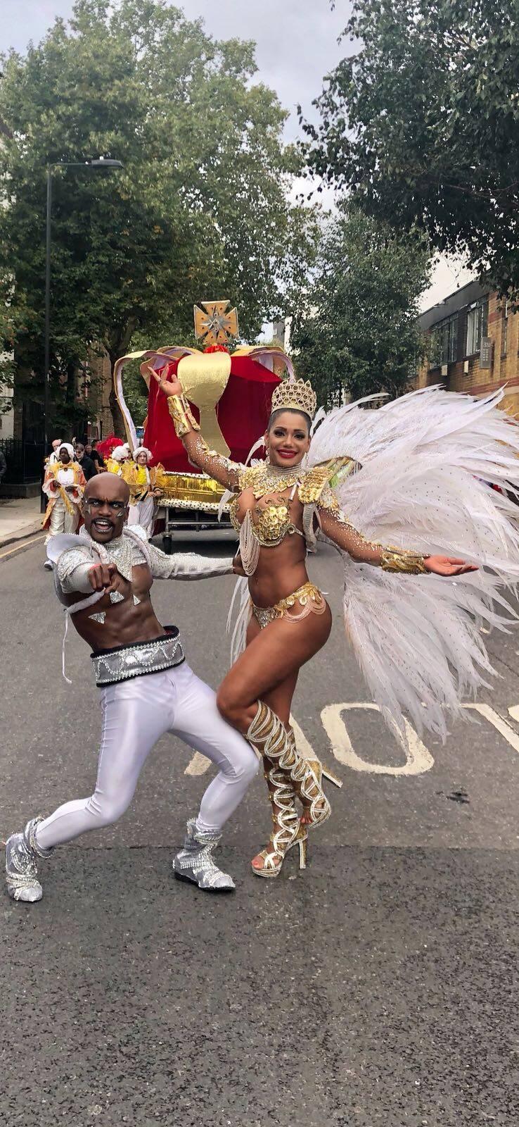 Ana Paula Evangelista foi rainha em desfile no carnaval de Londres. Foto: Divulgação