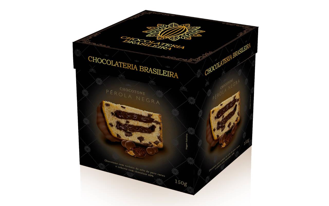 Chocottone Pérola Negra, recheio de nibs de cacau e cristais de caramelo. Chocolateria Brasileira (R$ 49,90). Foto: Divulgação