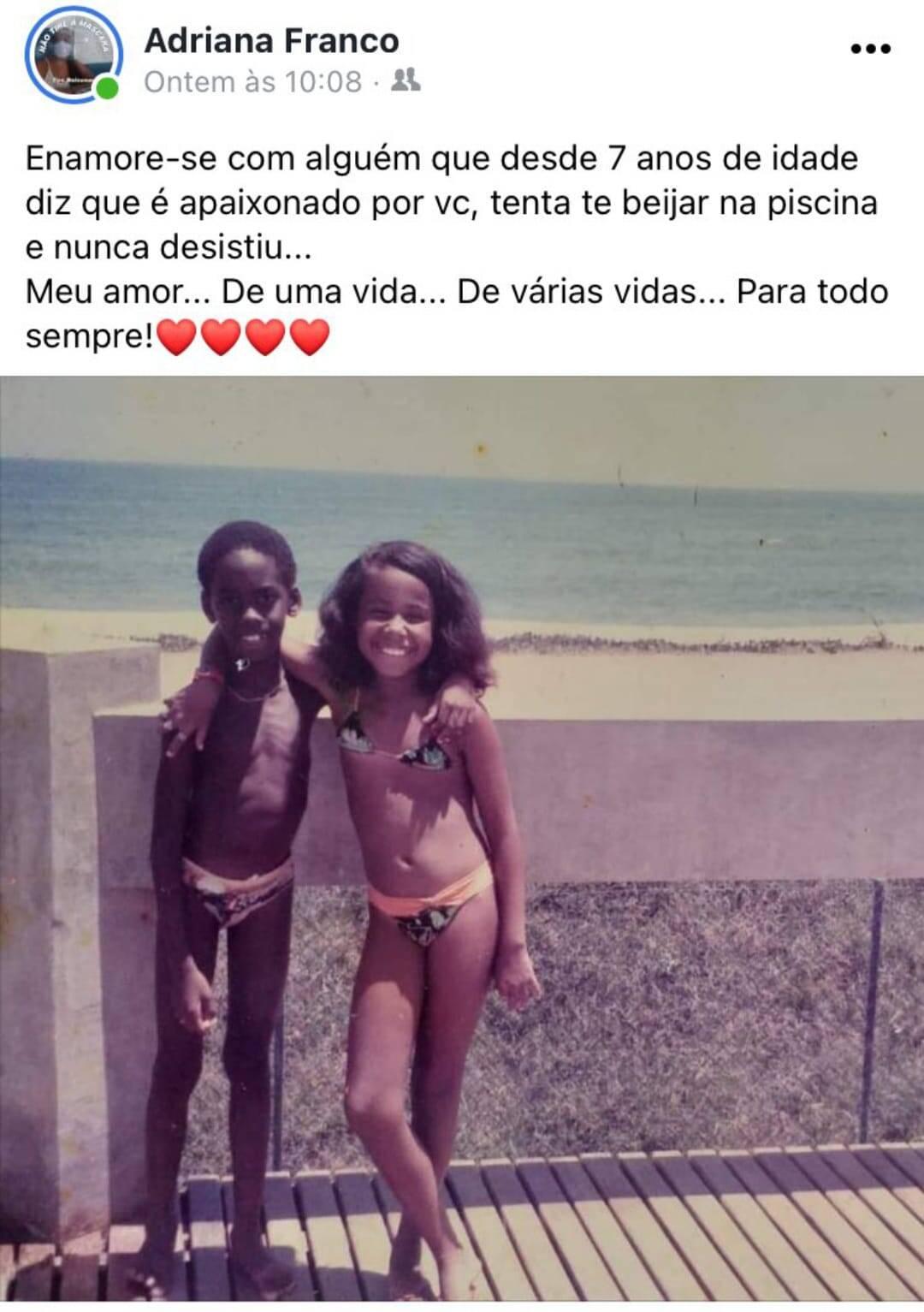 O post original feito por Adriana no Dia dos Namorados. Foto: Reprodução/Facebook