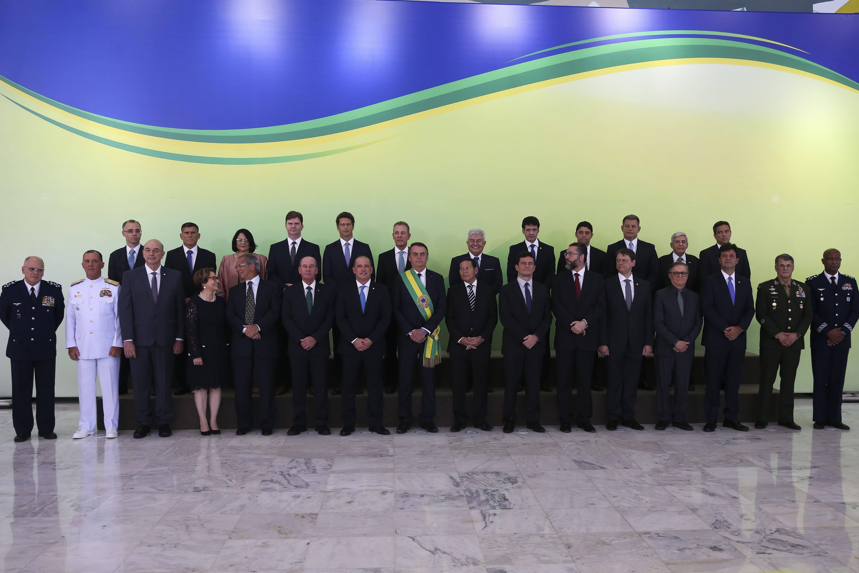 Posse de Bolsonaro foi encerrada com foto oficial da nova equipe do governo. Foto: Valter Campanato/Agência Brasil - 1.1.19