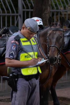 Com o cavalo, o policial tem uma visão ampla e privilegiada do ambiente patrulhado . Foto: Divulgação/Polícia Militar