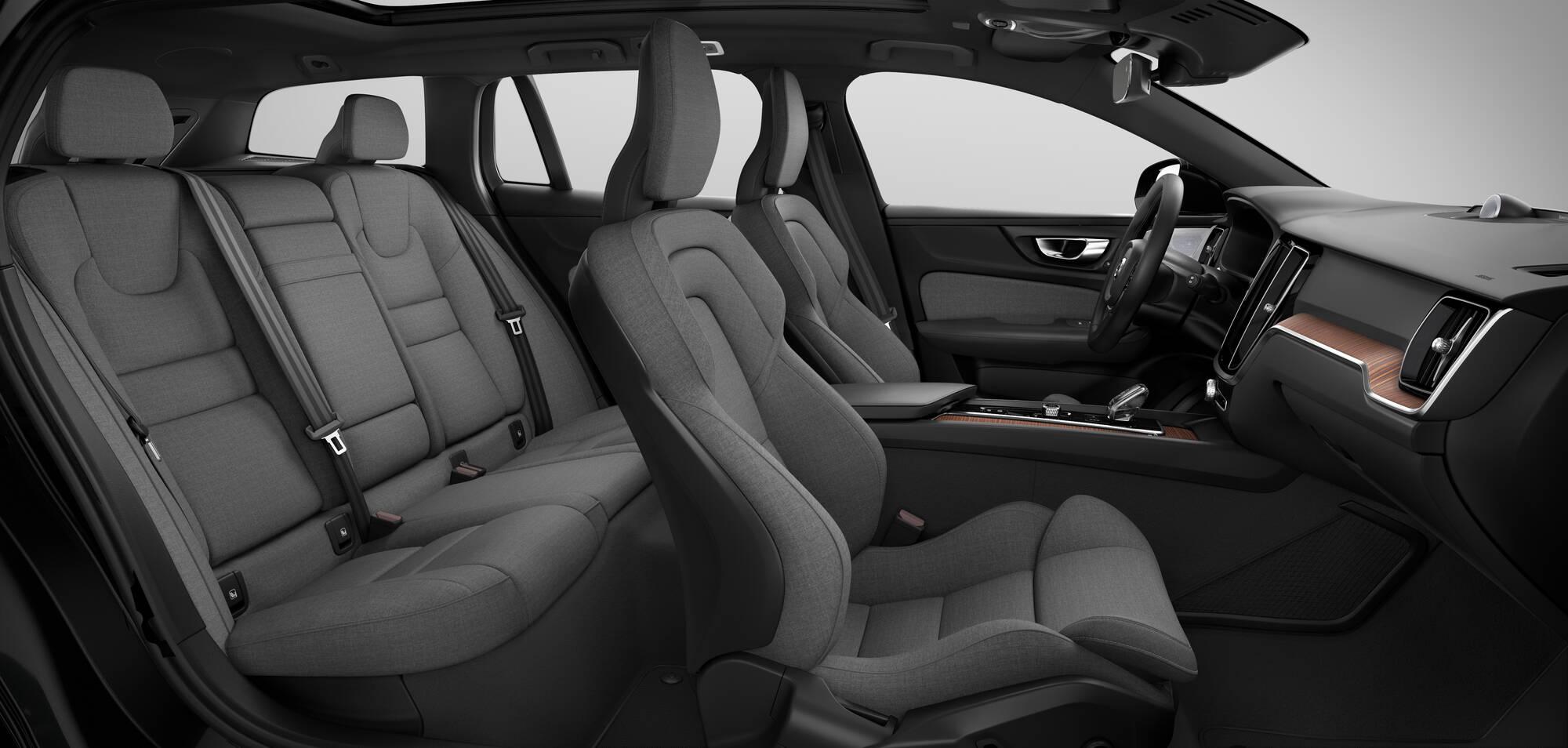 Interior em tecido sustentável do Volvo XC60 leva 30% de lã e 70% de poliéster reciclado. Foto: Divulgação