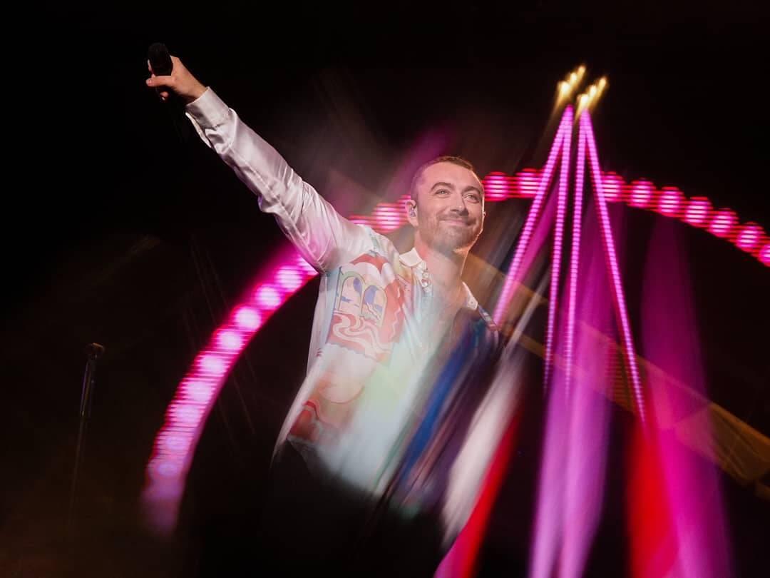 Sam Smith durante o show no Lollapalooza. Foto: Reprodução / Instagram